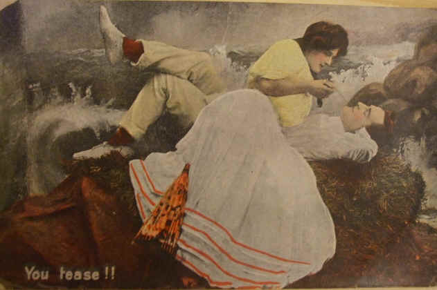 Flirting Couple You tease! Pictorial Postcard 1908