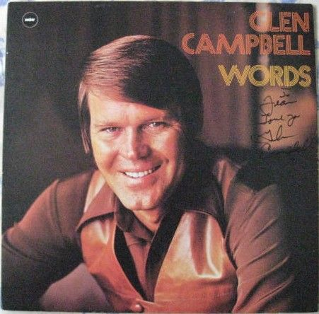 Glen Campbell WORDS Vinyl LP Signed Front Cover